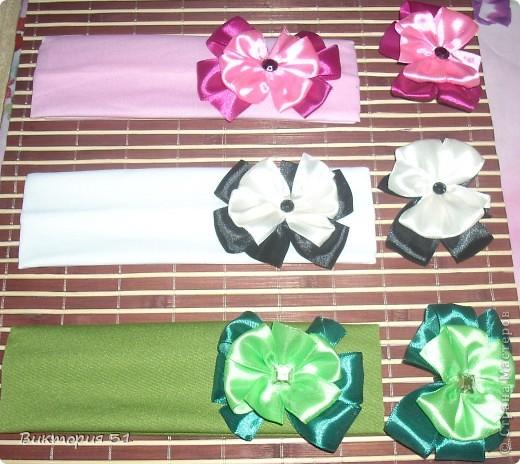 Набор бантики на повязках + резиночка фото 1