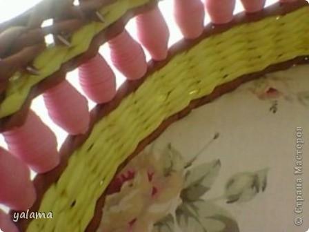 Здравствуйте!!! Сегодня решила Вам показать следующую плетёнку, сделанную вот в таких весёлых тонах. От предыдущей она не отличается ничем, разве что только формой и цветом. фото 5