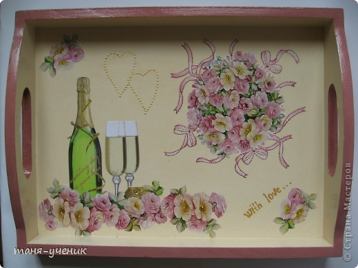 вот такой подарочный комплект делала брату на розовую (10 лет) свадьбу, эти розы будут стоять долго :) фото 8
