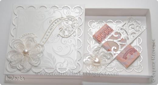 всем привет) теперь у меня тоже есть такая коробочка) ура)))  приобрела умопомрачительный набор дизайнерской бумаги))  добавила любимый квиллинг, вырубка, полужемчужины и жидкий жемчуг фото 2