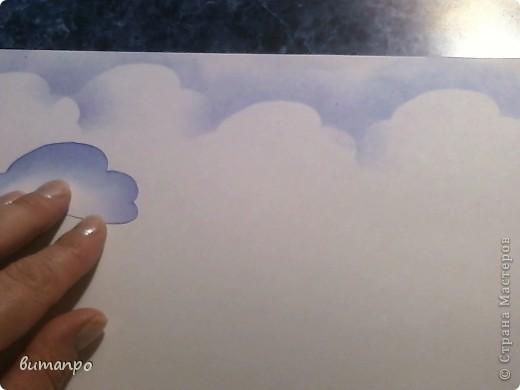 По просьбам друзей, я покажу как без акварели и карандашей,можно создать, и оформить картину с облаками,  как например здесь http://stranamasterov.ru/node/394313...  фото 10