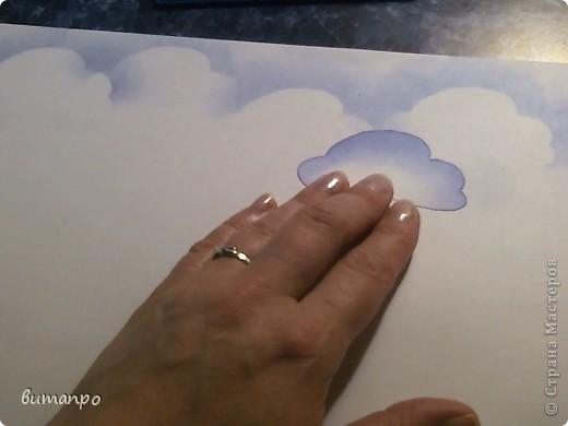 По просьбам друзей, я покажу как без акварели и карандашей,можно создать, и оформить картину с облаками,  как например здесь http://stranamasterov.ru/node/394313...  фото 11
