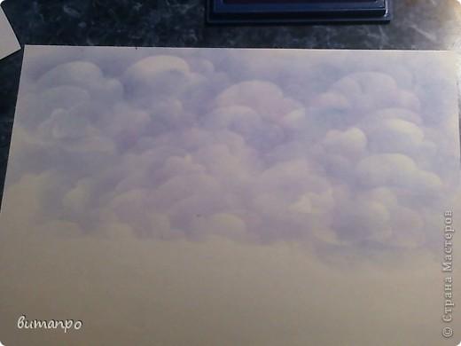 По просьбам друзей, я покажу как без акварели и карандашей,можно создать, и оформить картину с облаками,  как например здесь http://stranamasterov.ru/node/394313...  фото 14