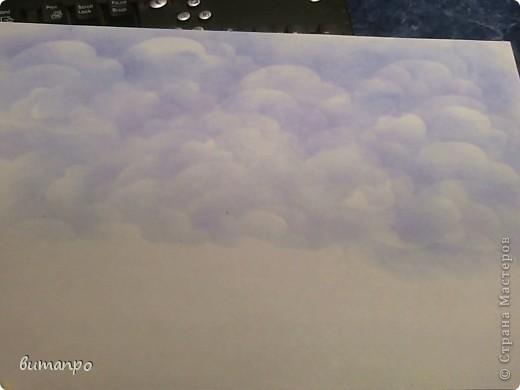 По просьбам друзей, я покажу как без акварели и карандашей,можно создать, и оформить картину с облаками,  как например здесь http://stranamasterov.ru/node/394313...  фото 15