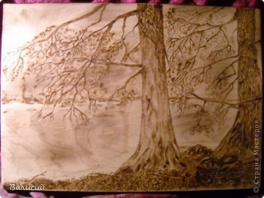 Сделана по своей фотографии.  Обожжённая  текстура дерева, как бы сама прорисовала  водную рябь.