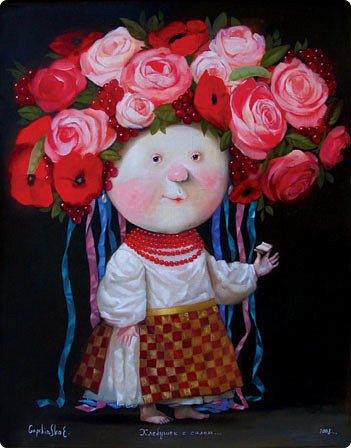 Очень захотелось что-то слепить по Гапчинской,вот и получилась у меня такая девочка с розоватыми щечками.Росписала акрилом.Лаком  пока вскрыла на один слой. фото 3