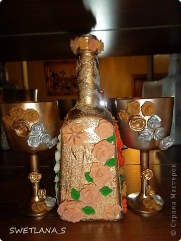 Украшение бутылок холодным фарфором фото 10
