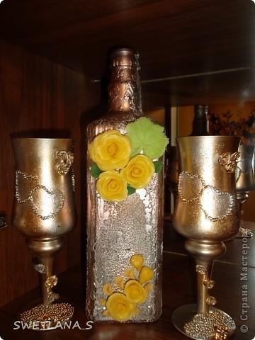Украшение бутылок холодным фарфором фото 12