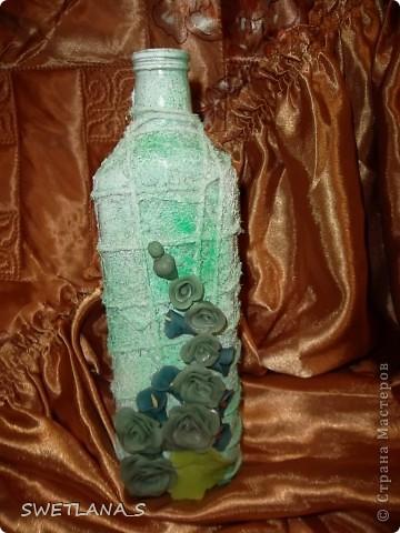 Украшение бутылок холодным фарфором фото 2