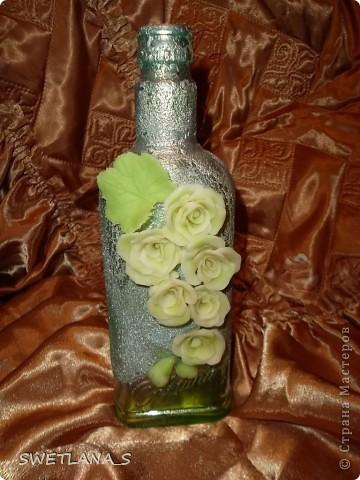 Украшение бутылок холодным фарфором фото 3