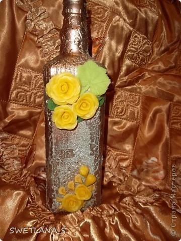Украшение бутылок холодным фарфором фото 4
