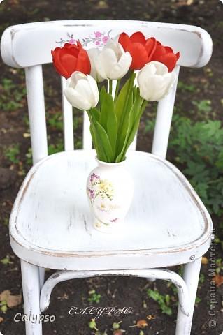 Люблю лепить цветы, которые так недолговечны - особенно тюльпаны. Они ,кстати, обладают одним замечательным свойством - благодаря контрасту белого и красного они снимают усталость))))))))))))))))) вот, получились волшебные тюльпашки))))))))))) фото 3