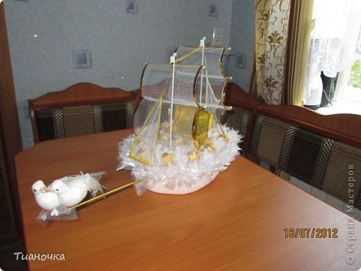 мой первый кораблик, он же свадебный. делалось с корабля Татьяны Мальцевой https://plus.google.com/photos/108392091231833518110/albums/5565374396409668097, так попросили фото 2