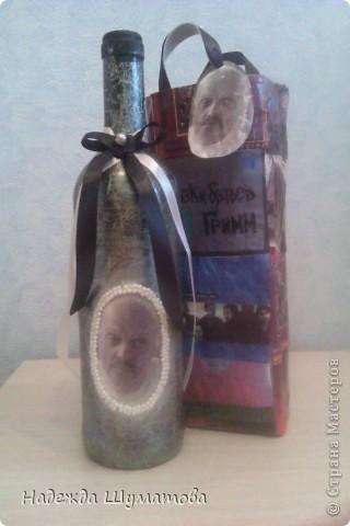 Изготовление подарочной бутылки фото 5