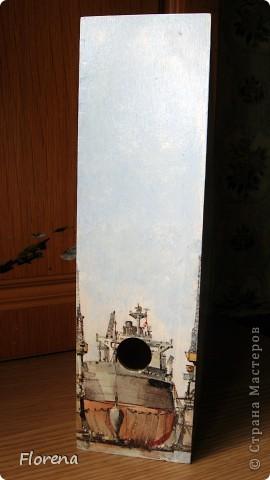 Журнальница в подарок мужу .А за что ?Просто так!)   Использовала : журнальницы из Икеи,салфетки,лак акриловый ,краски акриловые для подрисовки. фото 2