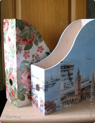 Журнальница в подарок мужу .А за что ?Просто так!)   Использовала : журнальницы из Икеи,салфетки,лак акриловый ,краски акриловые для подрисовки. фото 9