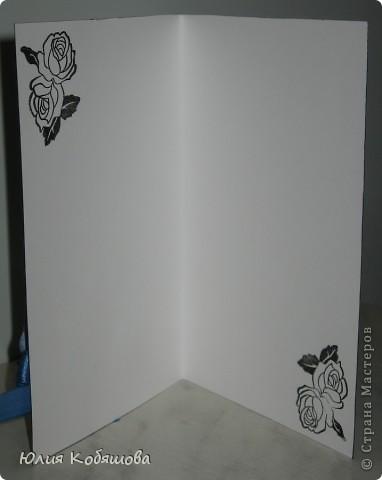 В перерыве ремонта сделала еще одну открыточку. Как же хочется все время что-то творить, скорее уж закончить оклейку обоев, покраску, перестановку мебели и т.д., и приступить спокойно к работе с моими любимыми бумажками. На этот раз получилась вот такая открыточка, зелено-голубая. Использовала скрап бумажку, атласную ленточку, цветочки, листочки, дырокольную бабочку и бордюрчик, полубусины. фото 4