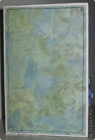 В перерыве ремонта сделала еще одну открыточку. Как же хочется все время что-то творить, скорее уж закончить оклейку обоев, покраску, перестановку мебели и т.д., и приступить спокойно к работе с моими любимыми бумажками. На этот раз получилась вот такая открыточка, зелено-голубая. Использовала скрап бумажку, атласную ленточку, цветочки, листочки, дырокольную бабочку и бордюрчик, полубусины. фото 5