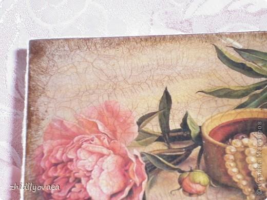"""В работе использована распечатка картины Марии Илиевой, на неё двухшаговый кракелюр ООО""""Таир"""", затирка пастелью. фото 6"""