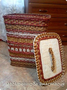 Доброго времени суток. Хочу показать вам корзину для белья. Сделала ее в подарок, но решила результатом поделиться с начала с вами. фото 1