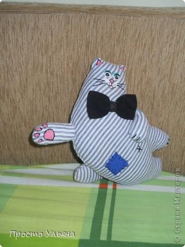 Привет всем!!Сегодня вашему вниманию предоставляется котя Котофеич,в свободное время он летает по квартире))Сшился он на даче,правда не один,ещё кое кого выставлю на неделе!!Вот какой он красавец с бантоом :) фото 3