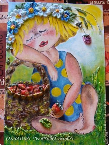 Очень понравилось сочетание рисунка и солёного теста.(люблю работы Ларисы...извиняюсь не знаю фамилии, но её работы очень часто повторяют мастерицы сайта)..получается эффект обьёмности рисунка. Рисунок взят из детской книги-иллюстратор Надежда Кузнецова. У неё много детских рисунков забавных малышей. фото 1