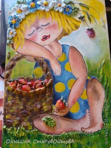 Очень понравилось сочетание рисунка и солёного теста.(люблю работы Ларисы...извиняюсь не знаю фамилии, но её работы очень часто повторяют мастерицы сайта)..получается эффект обьёмности рисунка. Рисунок взят из детской книги-иллюстратор Надежда Кузнецова. У неё много детских рисунков забавных малышей. фото 3