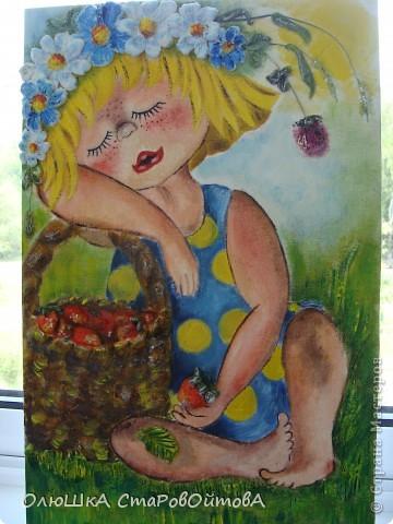 Очень понравилось сочетание рисунка и солёного теста.(люблю работы Ларисы...извиняюсь не знаю фамилии, но её работы очень часто повторяют мастерицы сайта)..получается эффект обьёмности рисунка. Рисунок взят из детской книги-иллюстратор Надежда Кузнецова. У неё много детских рисунков забавных малышей. фото 2