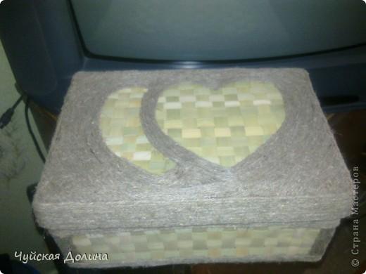 Коробка из-под обуви оплетенная бечевкой и декорированная рогозом фото 1