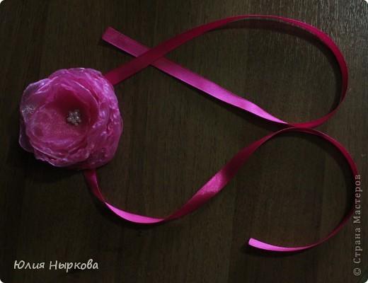 Цветок из ленты(брошка) фото 6