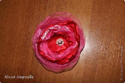 Цветок из ленты(брошка) фото 7