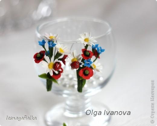 Серьги и колечко с полевыми цветами фото 2