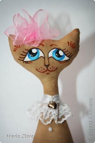 Доброго времени суток ))) И снова кот!!! Эту кошечку-леди делала подружке на ДР. Очень надеюсь, что понравится. Рост - 17 см (без бантика))) фото 3