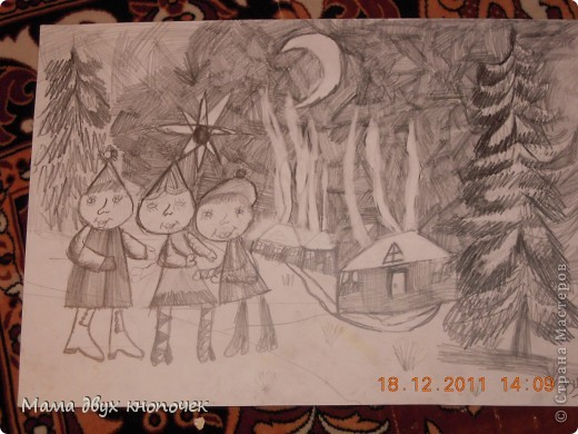 Рождество( нарисована 3 года назад, в 1 кл. худшколы) фото 1