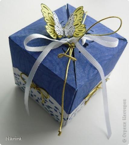 Добрый вечер! Сегодня я хочу поделиться идеей изготовления  «ленивых»  коробочек с теми, кто не любит чертить. Это коробочка для денежного подарка: так она выглядит снаружи.  фото 1