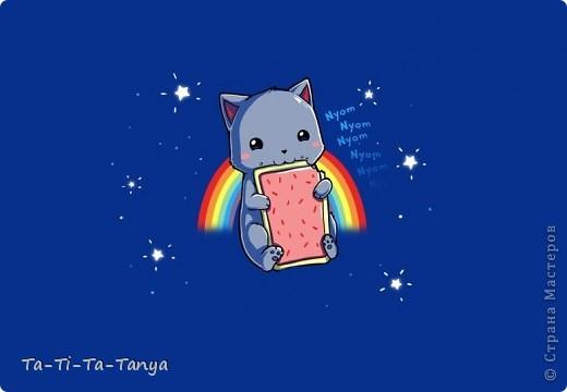 Такой Nyan Cat  получился из соленого теста) Нян Кэт - это сушество, с головой кошки (очень милой кошки) и телом печеньки. фото 2