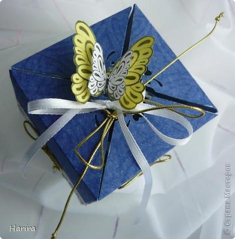 Добрый вечер! Сегодня я хочу поделиться идеей изготовления  «ленивых»  коробочек с теми, кто не любит чертить. Это коробочка для денежного подарка: так она выглядит снаружи.  фото 2