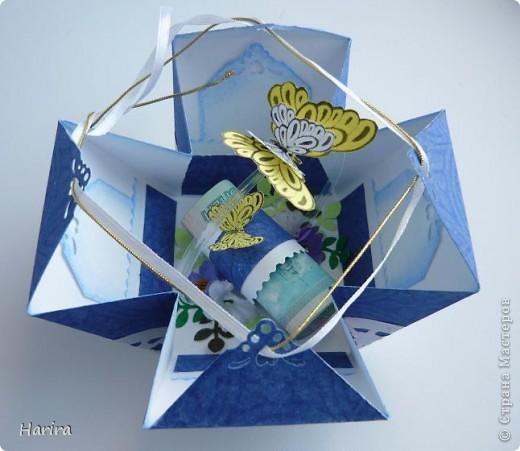 Добрый вечер! Сегодня я хочу поделиться идеей изготовления  «ленивых»  коробочек с теми, кто не любит чертить. Это коробочка для денежного подарка: так она выглядит снаружи.  фото 3