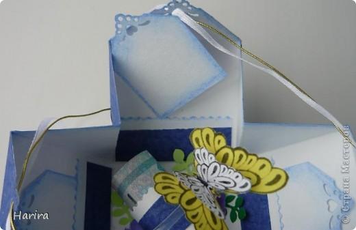 Добрый вечер! Сегодня я хочу поделиться идеей изготовления  «ленивых»  коробочек с теми, кто не любит чертить. Это коробочка для денежного подарка: так она выглядит снаружи.  фото 4