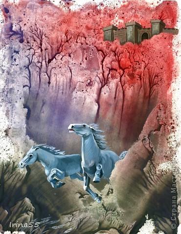 Эта работа сделана в технике монотипии. Отпечаток выполнен акварельными красками. Все остальное - акварель с белой  гуашью. Я очень люблю поэзию В.Высоцкого. И эта работа навеяна его стихами.