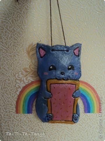 Такой Nyan Cat  получился из соленого теста) Нян Кэт - это сушество, с головой кошки (очень милой кошки) и телом печеньки. фото 1