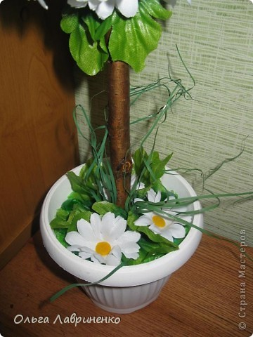 Ромашковое дерево Цветы искуственные, ствол натуральный - вишня. фото 2