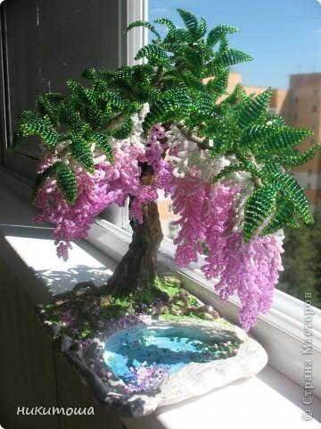 Всем здравствуйте,дорогие жители страны. Воодушевленная вашим творчеством,решила попытаться сделать дерево из бисера,и вот,что получилось.Результатом осталась довольна. фото 5