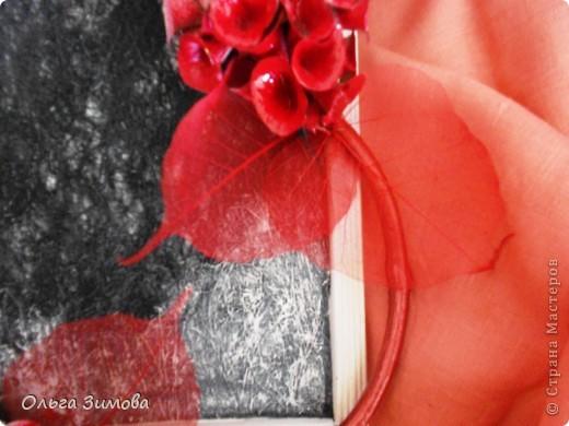 Сделала на кухню небольшое панно вот в таком красно черном цвете.Рамочка и часть кисти цветов белая. Для композиции использовала цветы малюцеллы- прекрасныей материал для творчества. На сухую, крашеную ветку приклеила цветочки-колокольчики малюцеллы. Кто с этим растением не знаком, несколько слов об этом растении. Сухоцвет. Высота растения 40--50см. Весь усыпан маленькими колокольчиками. Не зря его в народе называют ирландские колокола. Цвет колокольчиков зелёный, а когда высыхает становится желтым. Долго хранится.Из него получаются прекрасные скелетированые колокольчики.Один недостаток у растения, неприятный запах. Но для дела всё стерпишь и в сухом виде запах не такой резкий. Растение неприхотливое. Несколько лет назад купила на рынке кустик, теперь весь сад в них. фото 6