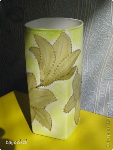 Сотворилась такая вазочка из обыкновенного стеклянного стакана и довольно невзрачной на вид салфетки фото 1