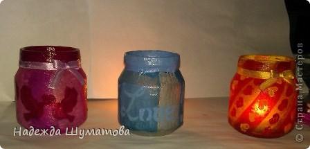 Стеклянные баночки-подсвечники фото 13
