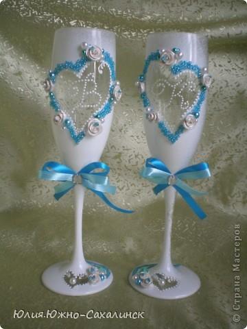 Дорогие мастерицы! Выставляю новый свадебный набор. Заказчики попросили в бело-бирюзовых тонах.   фото 3