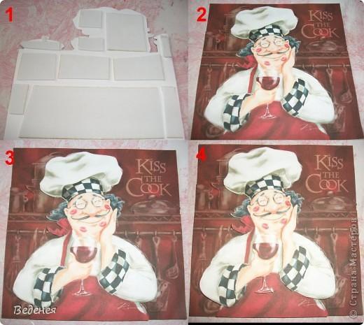 """Срочно потребовалось чем-то оформить стену на отремонтированной кухне. Как раз, к случаю, обнаружилась целая стопка стареньких """"советских"""" керамических плиток. фото 7"""