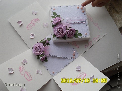 Открытка с днем свадьбы. Цветок самодельный, по МК из СМ (извините ссылку не сохранила)  фото 3