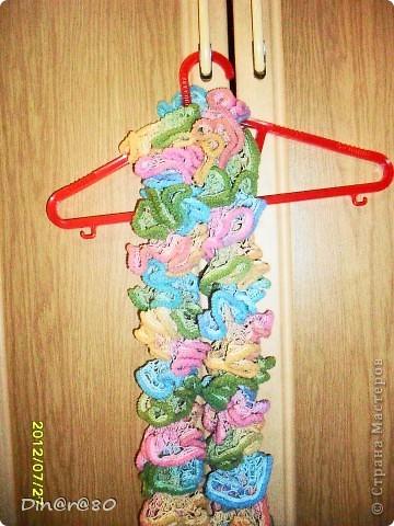 Вот такой шарфик для дочки связала из ленточной пряжи!  фото 2